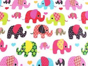 Bavlněná látka sloni do růžova