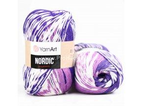 příze Nordic 658 variace fialové a bílé