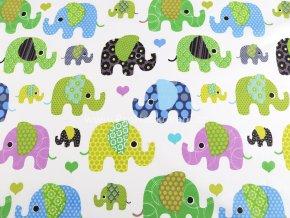 Bavlněná látka sloni v modré a zelené
