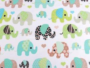 Bavlněná látka sloni v zelené a hnědé