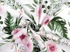 Bavlněná látka květinový vzor na bílé