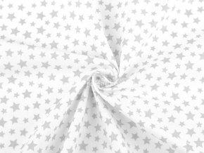 Bavlněná látka bílá s šedými hvězdičkami