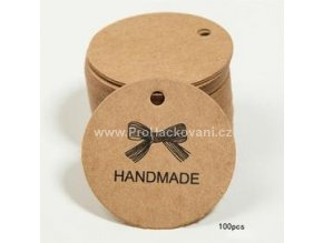 Papírová cedulka Hand made 30 mm 5 ks