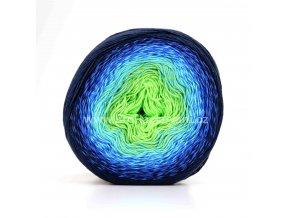 příze Flowers 300 jasná zelená, tyrkys, modrá, temně modrá