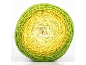 příze Flowers Merino 549 smetanová, odstíny žluté, trávově zelená