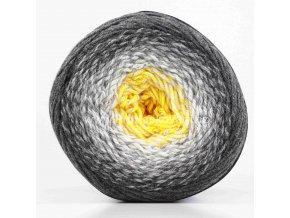 příze Flowers Merino 536 slunečnicová a odstíny šedé
