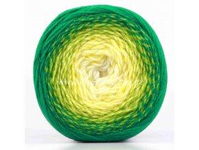 příze Flowers Merino 538 smetanová, žlutá, odstíny zelené