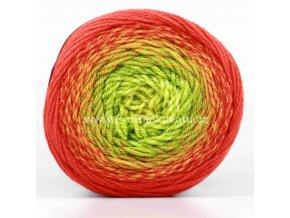 příze Flowers Merino 539 žlutá, zelená, rezavá, cihlově červená