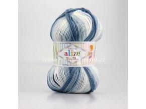 příze Baby Best Batik 7542 odstíny  bílá s odstíny šedé