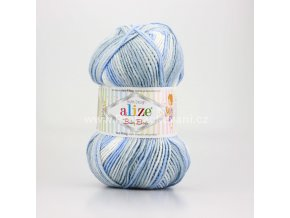 příze Baby Best Batik 7540 bílá, šedá, modrá