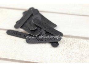 Hand Made, koženková cedulka černá oválná