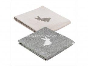 Deka pletená šedá se zajíčkem