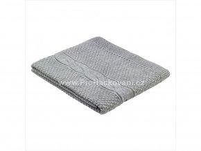 Deka pletená šedá se vzorem copu