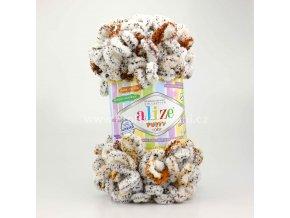 příze Puffy color 7503 žíhaná zašedlá bílá s hnědou