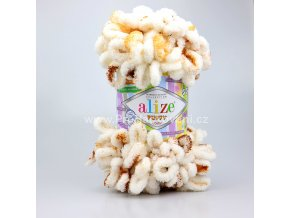 příze Puffy color 7502 smetanová s hnědou a skořicovou