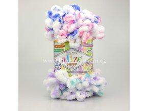 příze Puffy color 6245 bílá, růžová, fialová, mintová a modrá