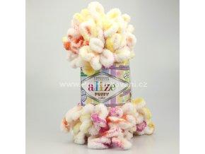 příze Puffy color 6244 smetanová, žlutá, oranžová, fialová
