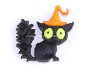 Knoflík exclusive Kočka s kloboukem