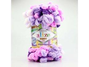 příze Puffy color 5863 variace růžové, fialové , bílé