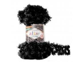 příze Puffy Fur 6101 černo šedá