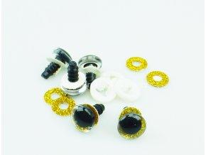 Oči bezpečnostní třpytivé zlaté, 12 mm