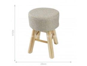 Dřevěná polstrovaná stolička - taburet 28x42 cm
