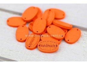 Hand made dřevěný oválný oranžový 18x12 mm.