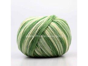 příze Jeans color 9090 variace zelené a smetanové