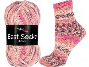 příze Best Socks 7303 smetanová, matná lososová, růžovofialová