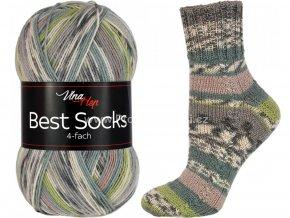 příze Best Socks 7305 nugátová, smetanová, šedá, zelená