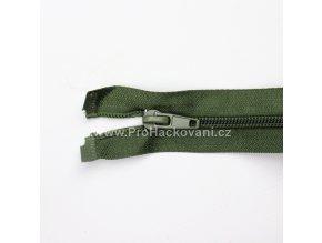 Spirálový zip dělitelný 80 cm olivově zelený