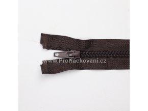 Spirálový zip dělitelný 80 cm tmavě hnědý