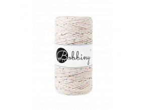 Bobbiny 3PLY  Macrame Regular 3 mm Natural s barevnými nopky
