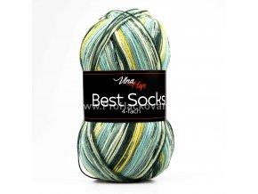 příze Best Socks 7308 žlutá, tmavě zelená, mentolová