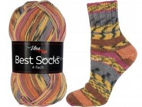 příze Best Socks 7304 šeříková, hnědá, žlutá, šedá, oranžová