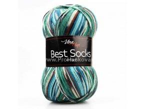 příze Best Socks 7301 smetanová, zelená, hnědá, modrá, tyrkysová