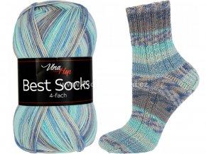příze Best Socks 7302 tyrkysová, modrá, šedá