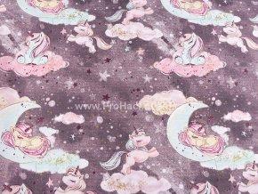 bavlnena latka jednorozci na oblaccich v sedofialove (1)