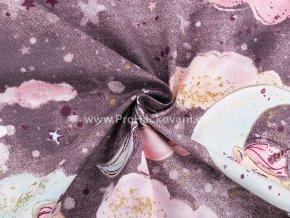 bavlnena latka jednorozci na oblaccich v sedofialove (2)