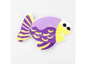 Nažehlovací aplikace ryba fialová - žlutá