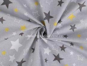 bavlnena latka mix sedych a zlutych hvezd na sede