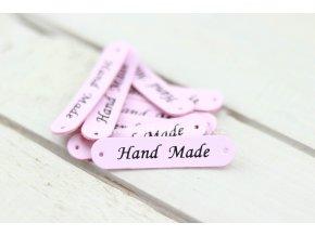 Hand Made, oválná koženková cedulka světle růžová