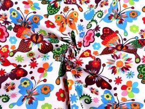 bavlnena latka barevni motyli na bile