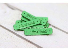 Hand Made cedulka, koženková zelená