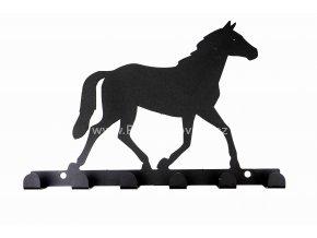Kovový věšák černý - kůň