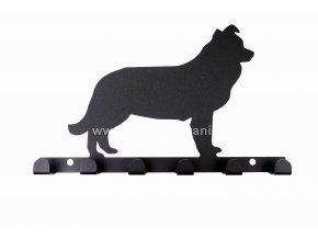 Kovový věšák černý - pes border kolie