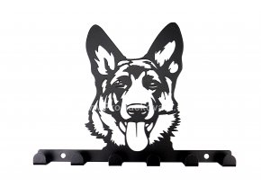 Kovový věšák černý - pes hlava ovčák