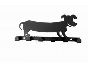 Kovový věšák černý - pes jezevčík