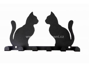 Kovový věšák černý - dvě kočky