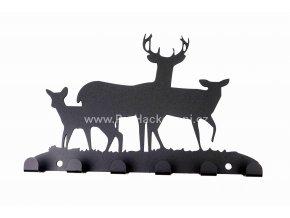 Kovový věšák černý - jelení rodinka